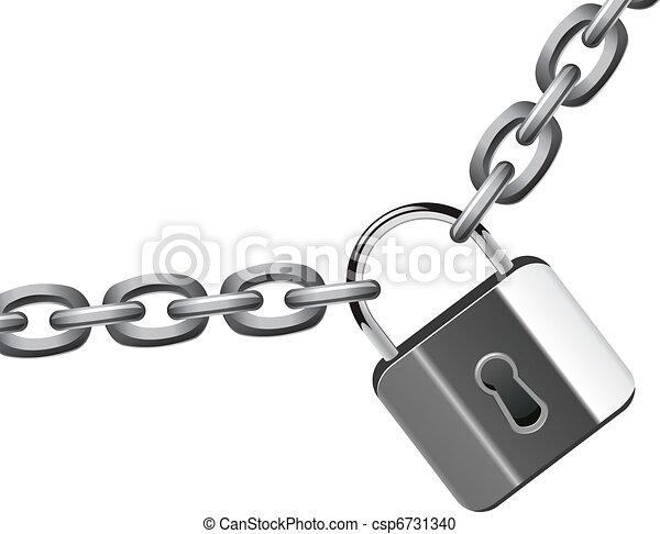 vector illustration of metal chain and padlock - csp6731340