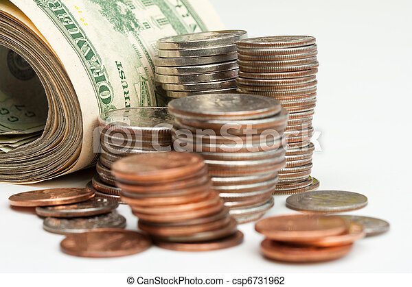Pile of money notes and coins - csp6731962