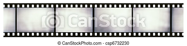 Blank light leaked highly detailed real vintage 35mm black-and-white negative film frame, hard grain, dust and scratches visible, isolated on white background - csp6732230