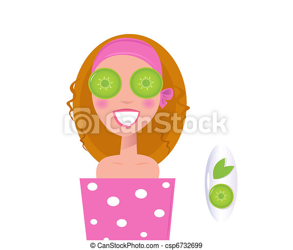Wellness girl relaxing with cucumber on eyes green  - csp6732699