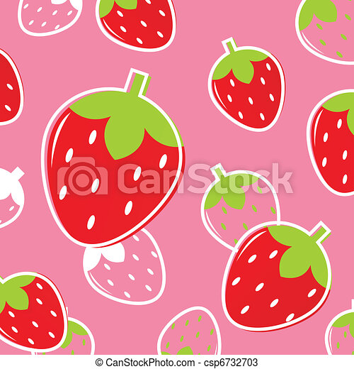 Fresh Strawberry Fruit pattern or background: pink & red  - csp6732703