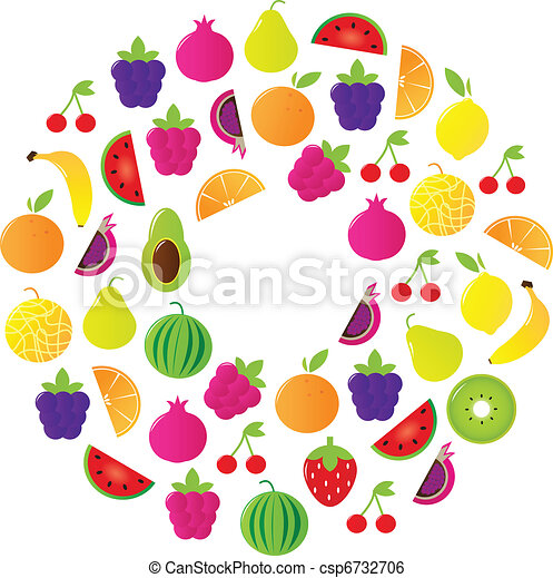 Fresh Fruit Circle isolated on white background