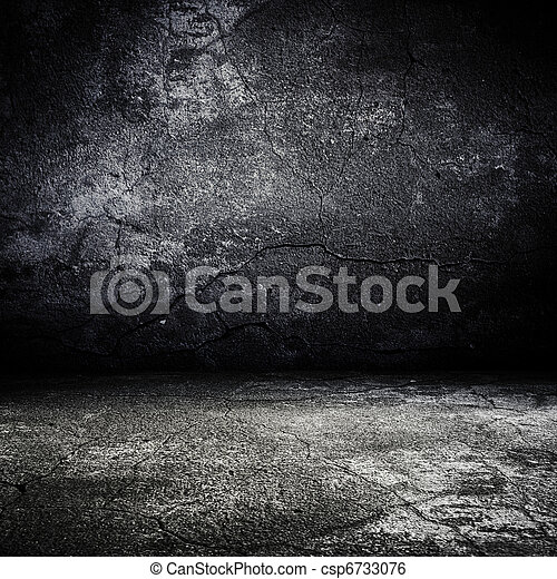 old grunge scary room with concrete texture - csp6733076
