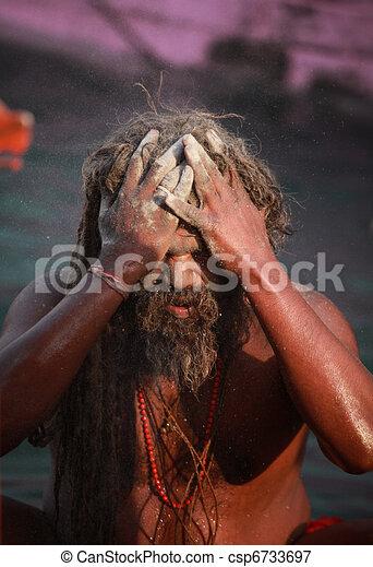 Sadhu during Kumbh Mela festival - csp6733697