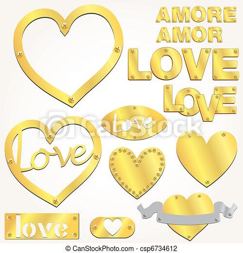 Plate LOVE golden gold heart vector - csp6734612