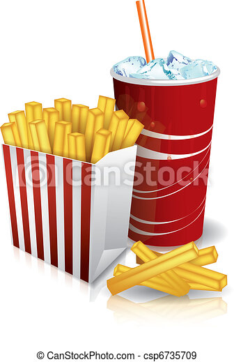 Junk food - french fries and soda - csp6735709