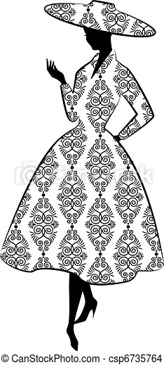 Vintage silhouette of girl - csp6735764