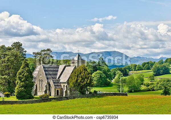 Victorian church in rural setting - csp6735934