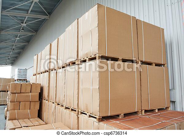 warehouse cardboard boxes arrangement outdoors - csp6736314