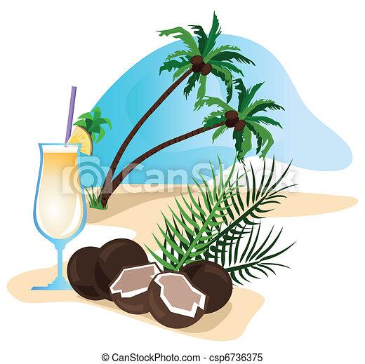 Vecteur clipart de noix coco cocktail exotique boisson - Dessin noix de coco ...