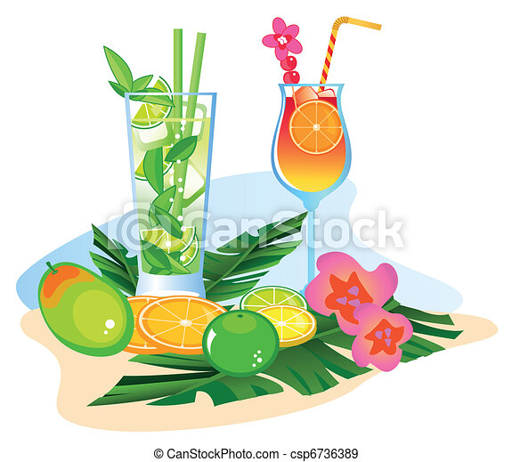 Cocktails and Fruits - csp6736389