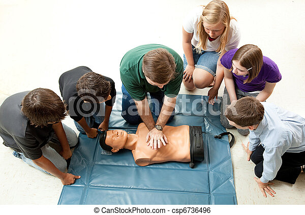 Group of Teens Take CPR Class - csp6736496