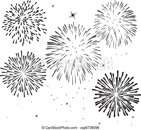 black and white fireworks - csp6738096