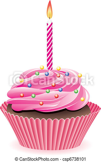 cupcake with burning candle - csp6738101