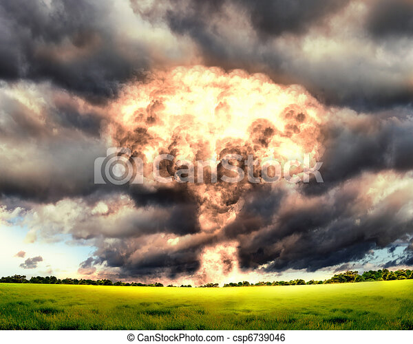 Nuclear explosion in an outdoor setting - csp6739046
