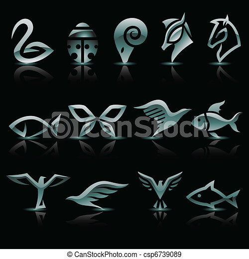Abstract silver animal icons - csp6739089