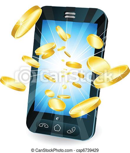 Gold coins flying out of smart mobile phone - csp6739429