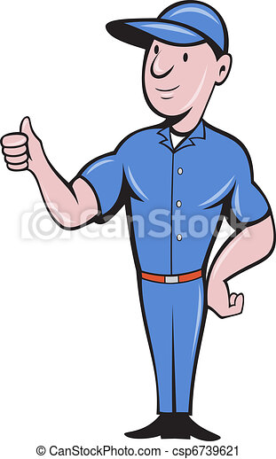 Repairman tradesman worker thumbs up - csp6739621