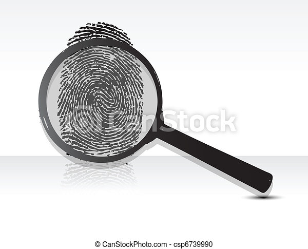 magnifying glass over a Fingerprint - csp6739990