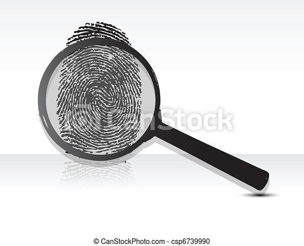magnifying glass over a Fingerprint - csp6739990