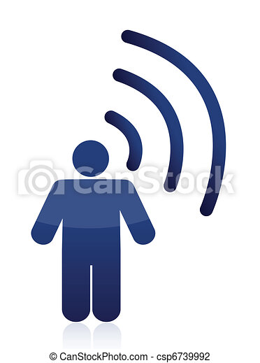 man with symbol of wifi connection - csp6739992