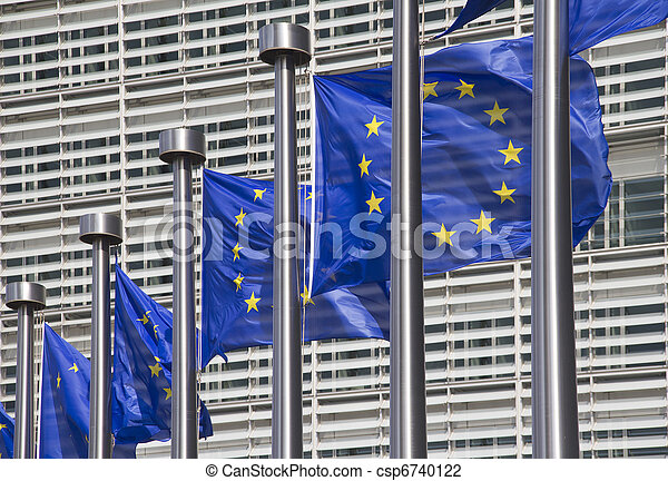 European Union Flags in Brussels - csp6740122