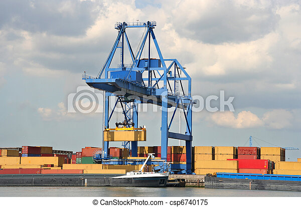 Large Harbor Crane - csp6740175