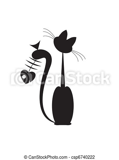 abstract cats fish - csp6740222