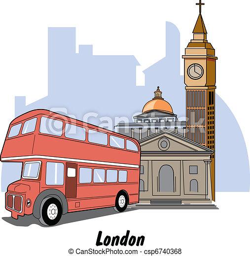 London England Big Ben & Bus - csp6740368