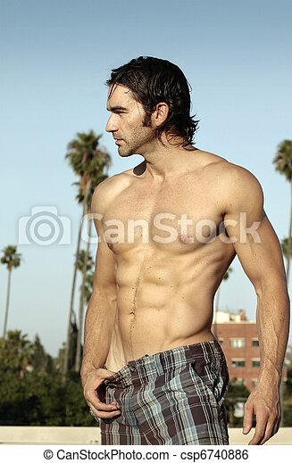 Shirtless man profile - csp6740886