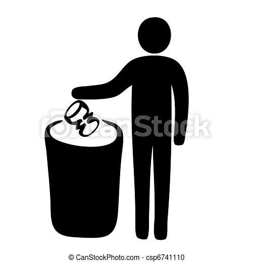 Pictogram of man putting garbage in dustbin - csp6741110