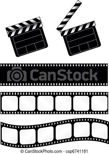 Movie clapper with film strips - csp6741181