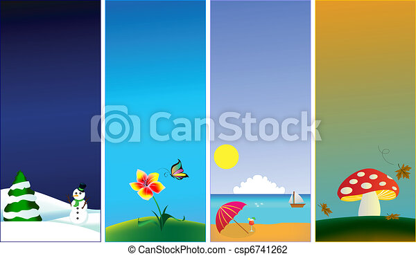 Vertical banners - 4 seasons - csp6741262