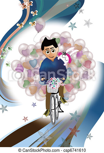 Man carries balloon for his lover  - csp6741610