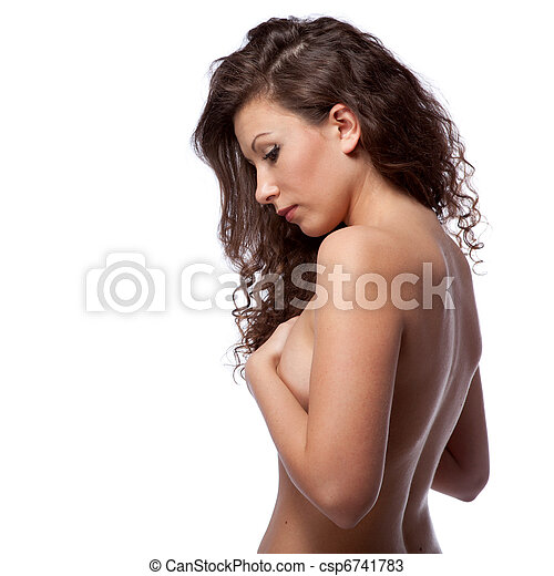 portrait of nude woman with curly hair isolated on white - csp6741783
