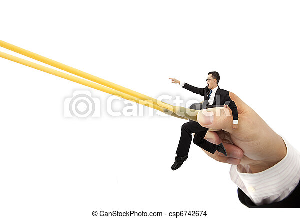 business sprint concept with rubber band - csp6742674