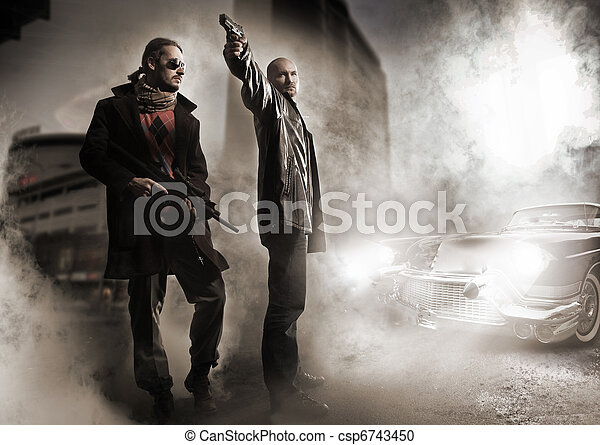 Gangsters and stylish old car - csp6743450