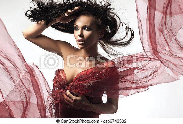 Sexy brunette in the windy day - csp6743502