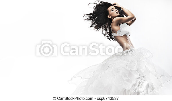 Sexy woman wearing white dress - csp6743537