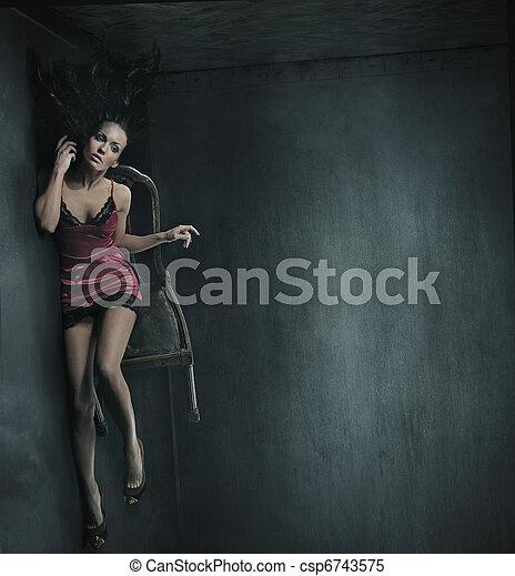 写真, 椅子, 女, 芸術, 大丈夫です - csp6743575