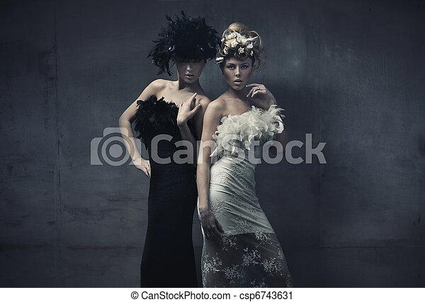 Fine art photo of a two fashion ladies - csp6743631