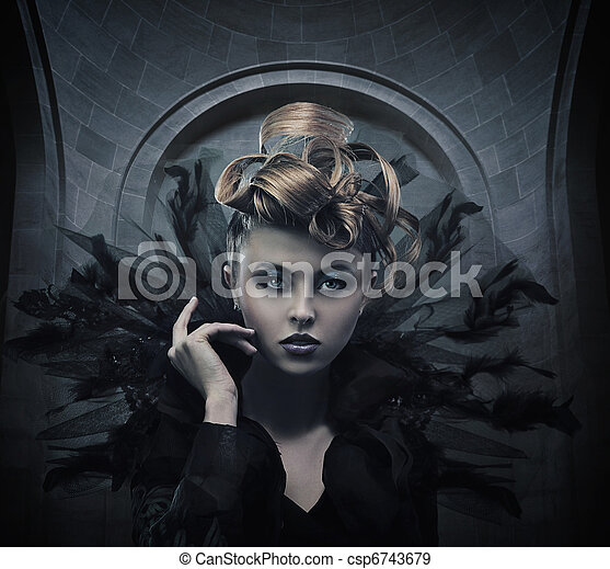 Vogue style photo of a gothic woman - csp6743679