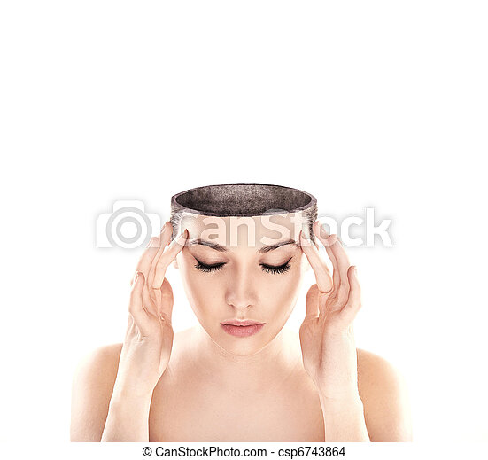 Conceptual image of a open minded woman , lots of copy space - csp6743864