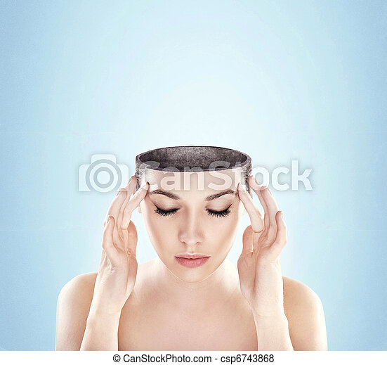 Conceptual image of a open minded woman , lots of copy space - csp6743868