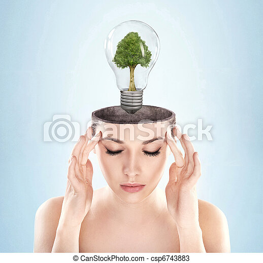 Open minded woman with green energy symbol - csp6743883