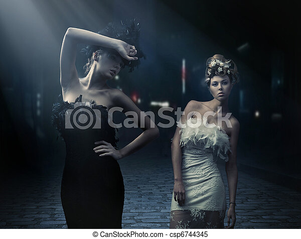 Fine art photo of a two fashion ladies - csp6744345