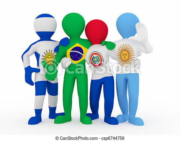 Mercosur. People in color of national flag. - csp6744759