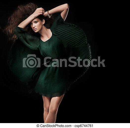 foto, estilo, Moda, morena, joven - csp6744761
