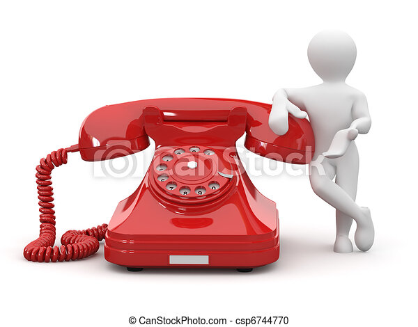 Contact us. Men with phone. 3d - csp6744770