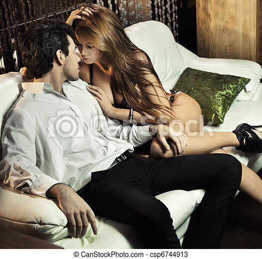 Handsome sexy couple in romantic situation - csp6744913